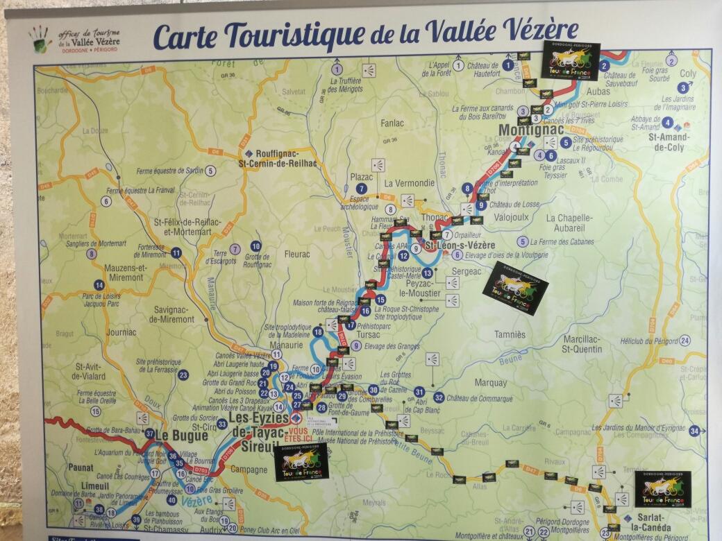vallée de la vézère carte Carte Vallée Vézère Tour de France   Espace professionnel Lascaux